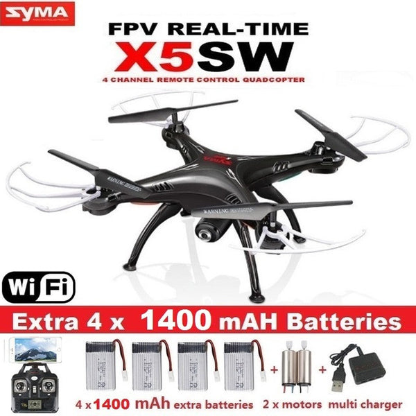 SYMA WiFi Camera Real Time Video Quadcopter With 5 Batteries