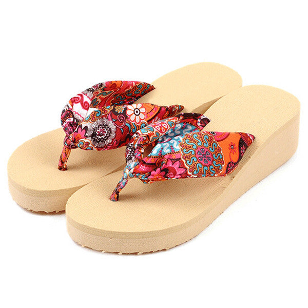 Women's Bohemia Flower  Platform Wedge Home & Beach Sandals -  FREE Shipping