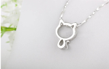 Ladies Fine Silver Plated Cat Necklace