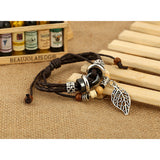 New 2017 Leather Leaf Beaded Bracelet Personality Jewelry  High Quality - FREE SHIPPING