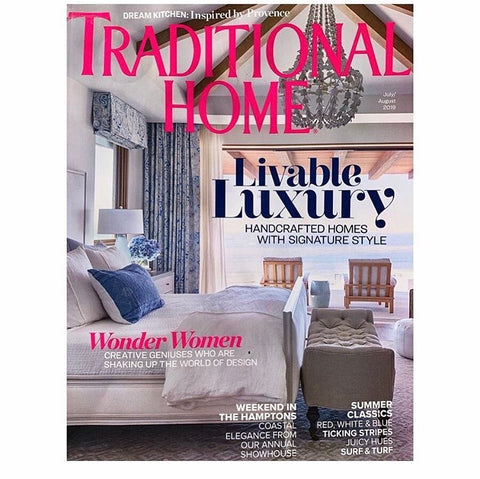 Magazine cover featuring a fancy bedroom on the ocean