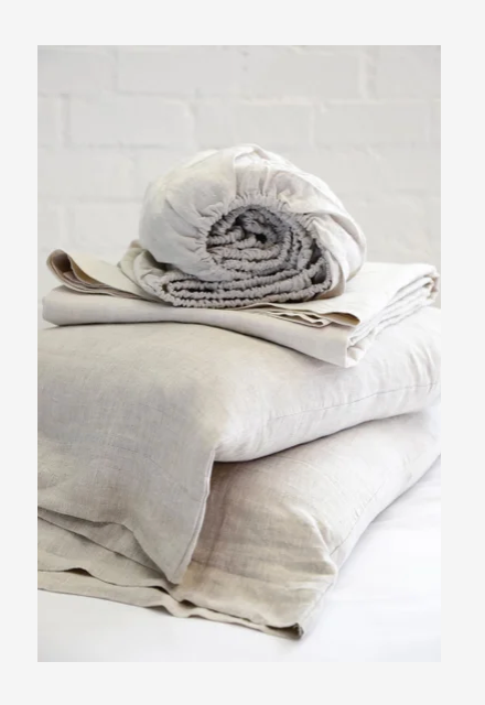 flax sheet set, rolled and folded