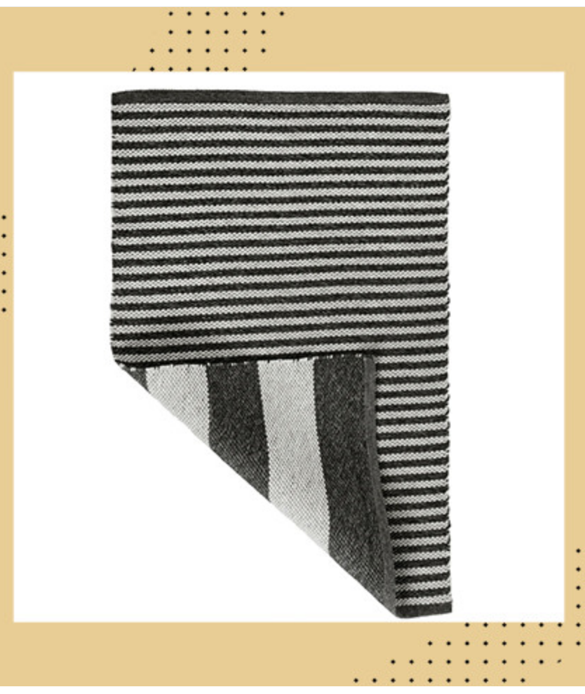 A striped white and charcoal area rug