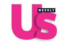 Hot pink US in bold font, weekly written in small white letters in a black box