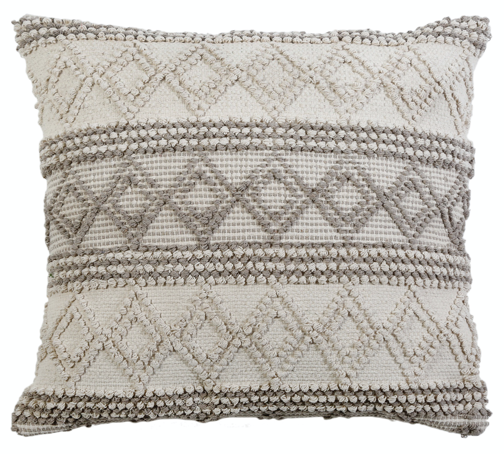 a handwoven square pillow, taupe and grey