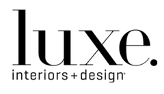 Luxe interiors and design in black lettering