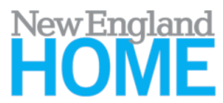 Grey and Blue font reads New England Home