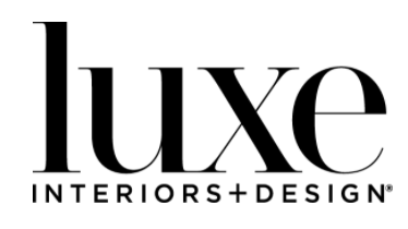 luxe interiors and designs in black serif font