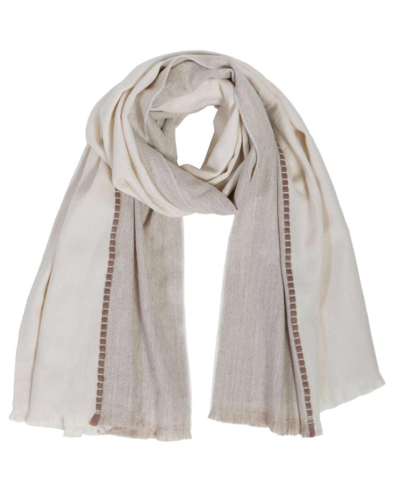a taupe and cream colored scarf