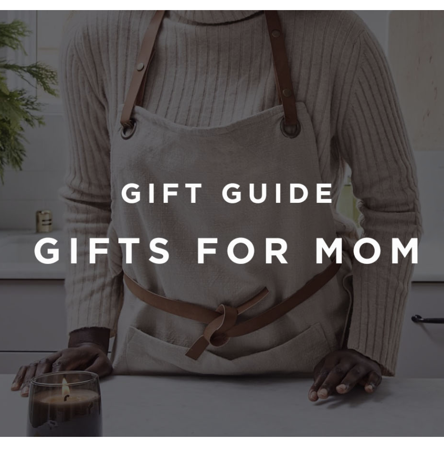 a women in an apron with font that reads Gift Guide Gifts for Mom