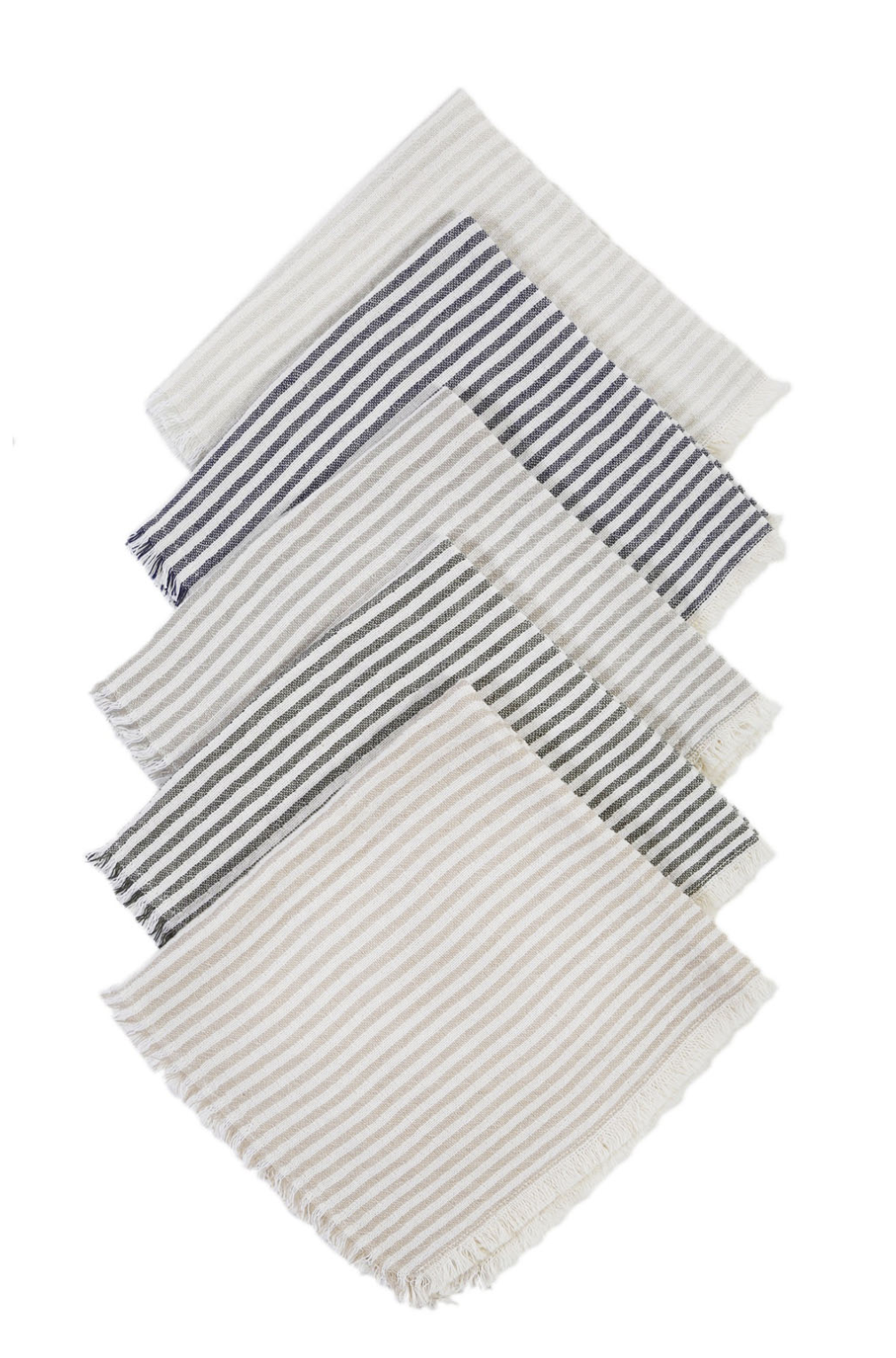 striped napkins in a a row various colors