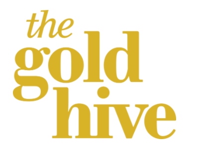 the gold hive written in gold font