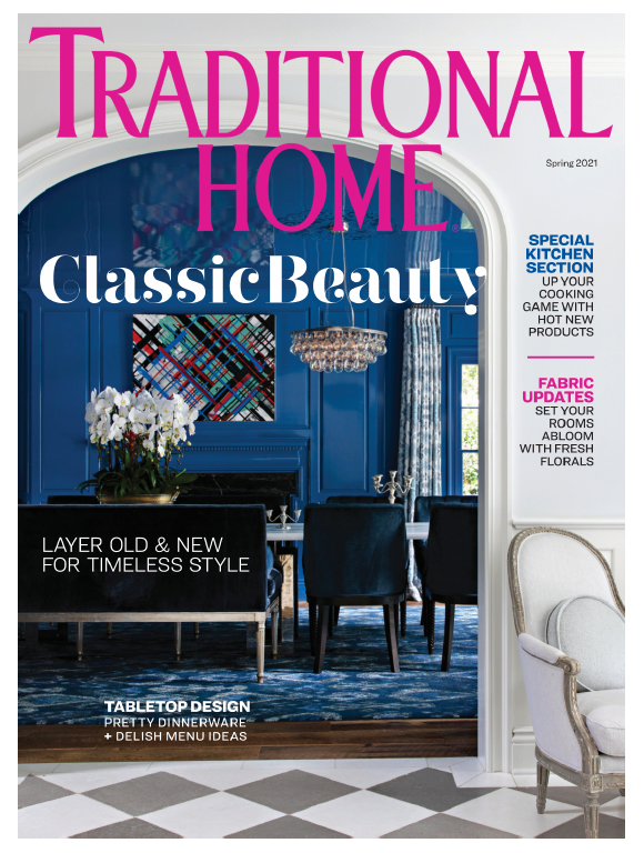 cover of traditional home magazine, fancy blue dining room