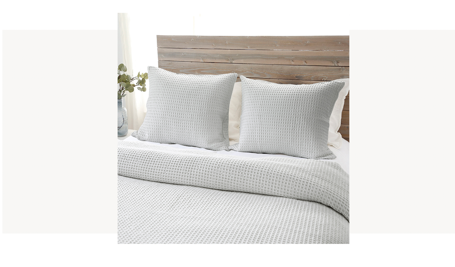 waffle weave bedding in a soft green blue color