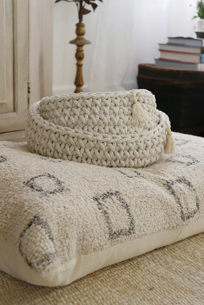 handwoven ivory and black small decorative pillow