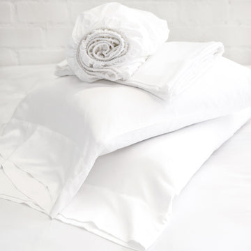 BAMBOO SHEET SET - WHITE-Pom Pom at Home