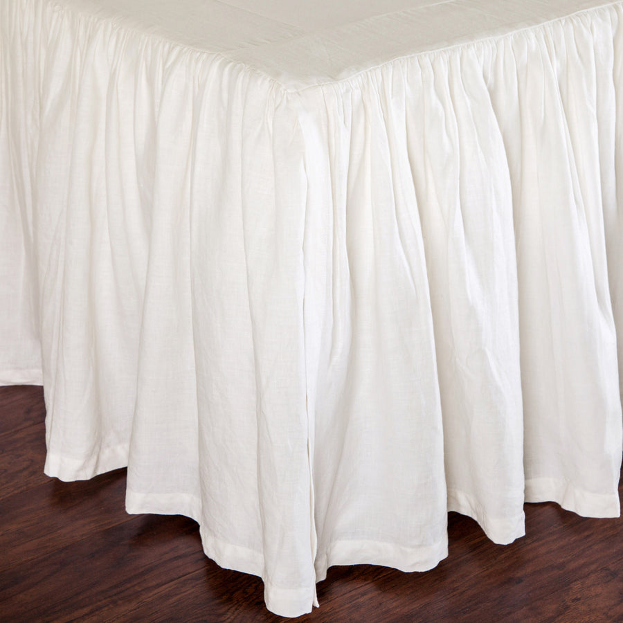 GATHERED LINEN BEDSKIRT - CREAM