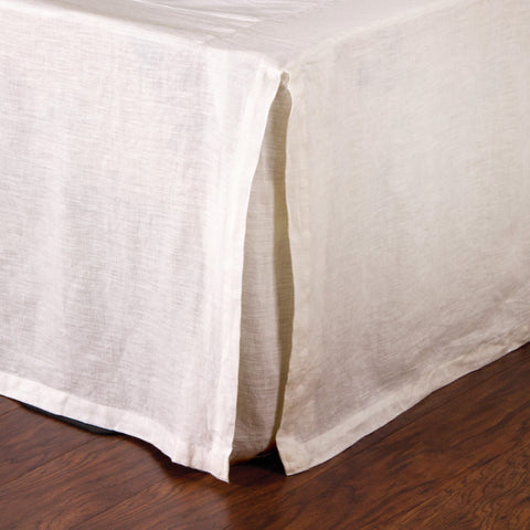 PLEATED LINEN BEDSKIRT - CREAM