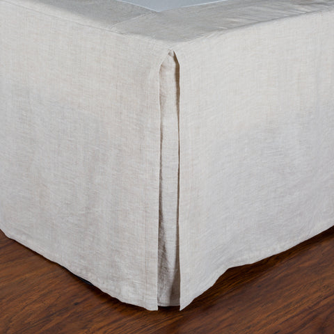PLEATED LINEN BEDSKIRT - FLAX