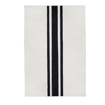 NEW!  BEACHWOOD HANDWOVEN RUG - IVORY/BLACK