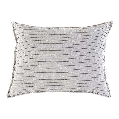"<font color=""526b9e""><b> NEW! </b></font>  BLAKE BIG PILLOW WITH INSERT  <br> FLAX/MIDNIGHT"