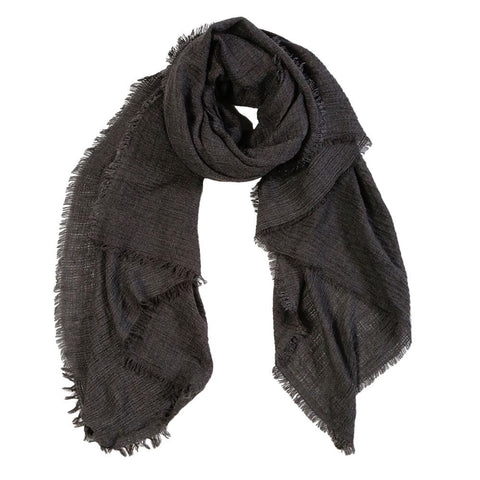 "<font color=""526b9e""><b> NEW! </b></font> CRINKLE SCARF - <br> CHARCOAL"