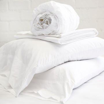 COTTON PERCALE SHEET SET - WHITE-Pom Pom at Home