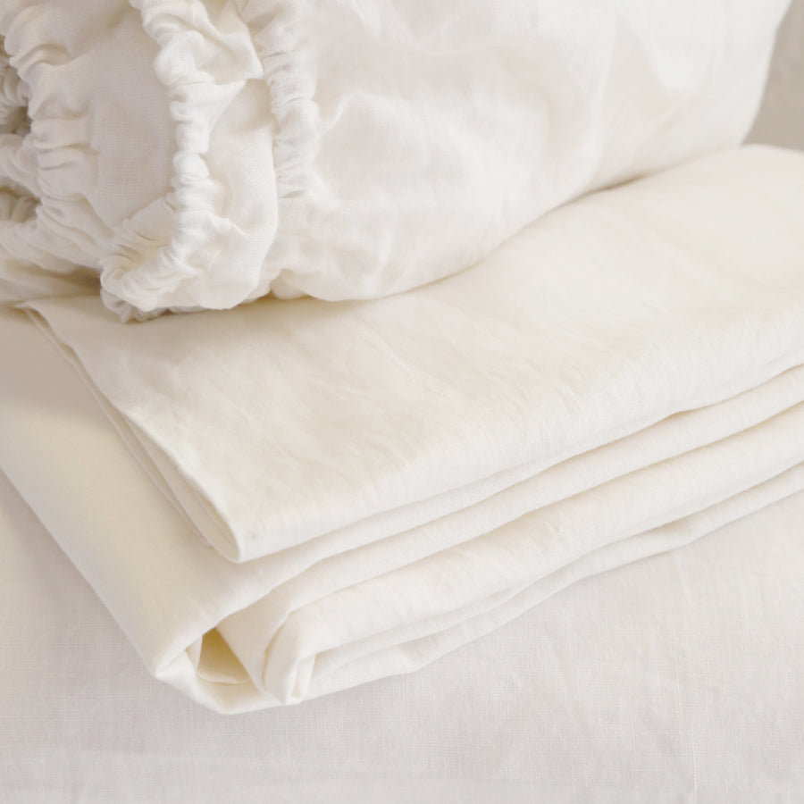 LINEN SHEET SET - CREAM