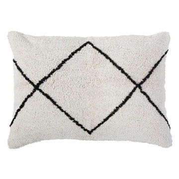 "FREDDIE HAND WOVEN BIG PILLOW 28"" X 36"" WITH INSERT - Ivory/Charcoal-Pom Pom at Home"