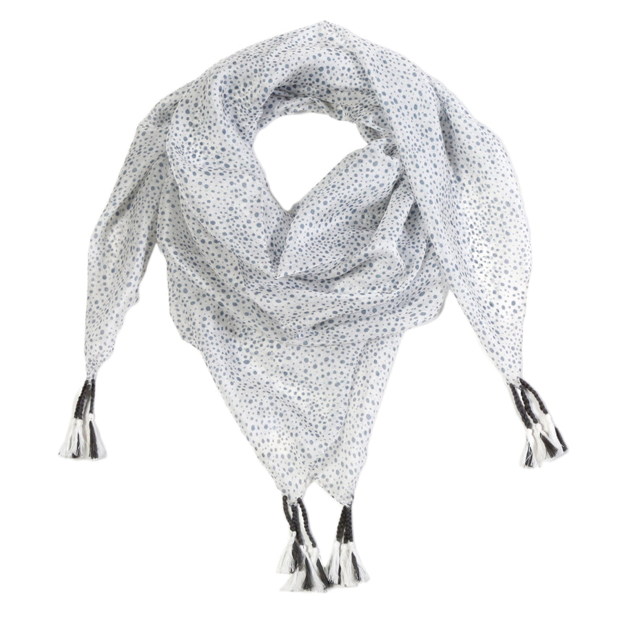 <b> NEW! </b>GENOVA SILK SCARF - White/ Steel