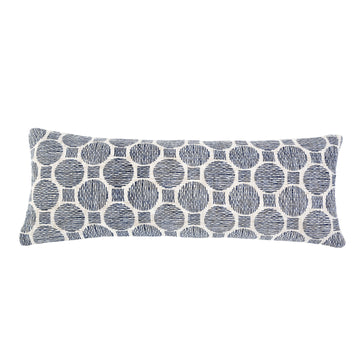 "Ian 14""X40"" PILLOW WITH INSERT -  IVORY/NAVY"