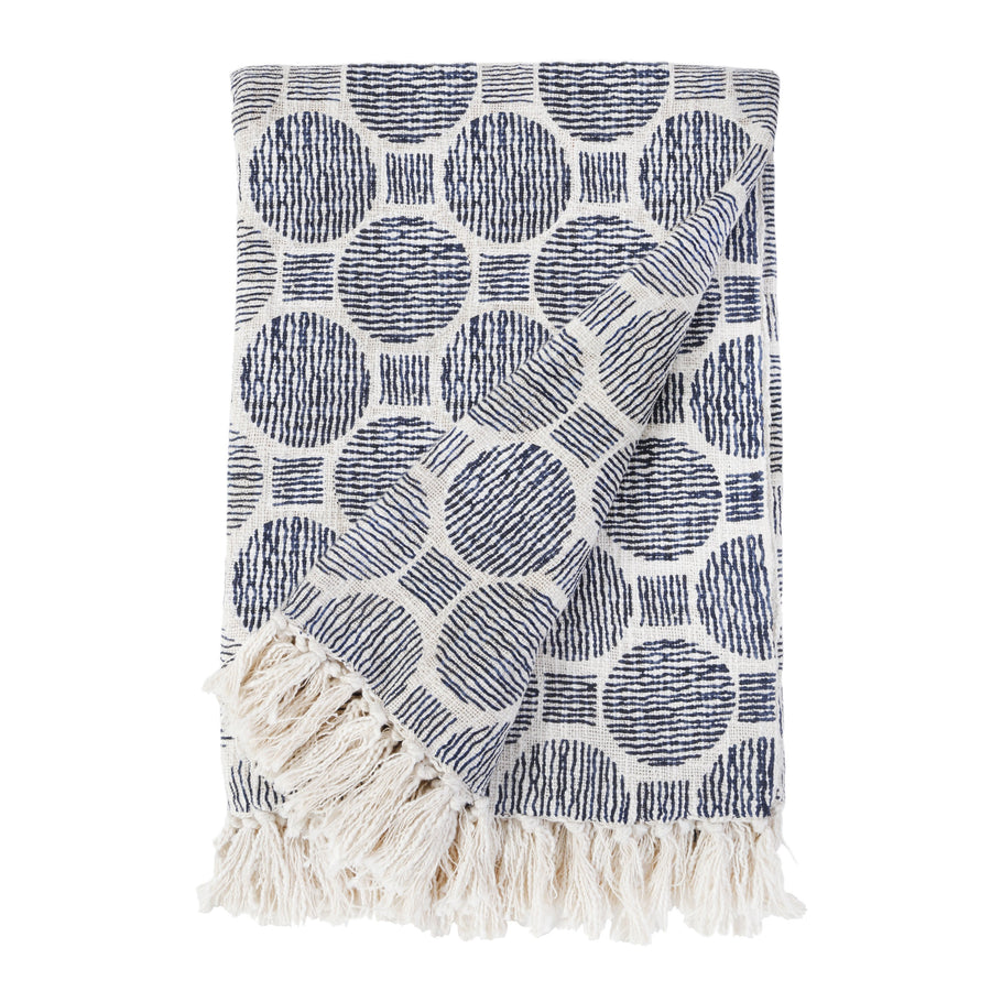 IAN OVERSIZED THROW -  IVORY/NAVY