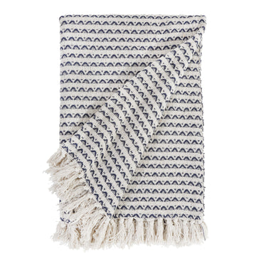 KENZIE OVERSIZED THROW - NATURAL/NAVY