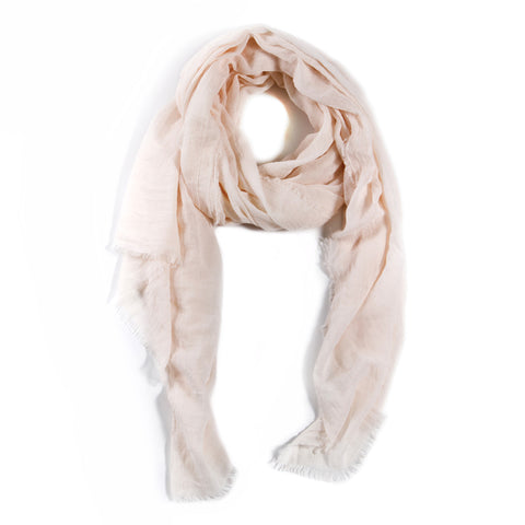 LIGHTWEIGHT FRAYED SCARF - BLUSH