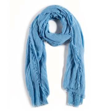 LIGHTWEIGHT FRAYED SCARF - FRENCH BLUE