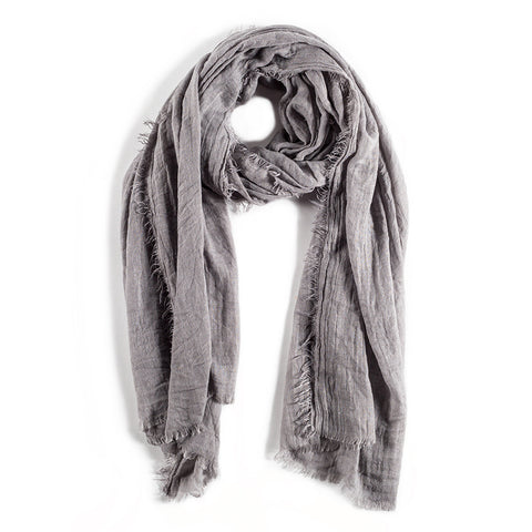 LIGHTWEIGHT FRAYED SCARF - LIGHT GREY