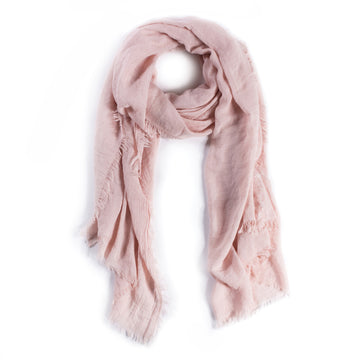 LIGHTWEIGHT FRAYED SCARF - LIGHT ROSE-Scarf-Pom Pom at Home