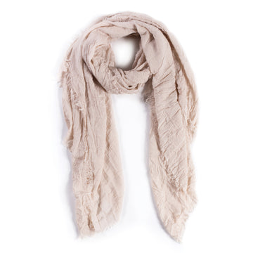 LIGHTWEIGHT FRAYED SCARF - SAND-Scarf-Pom Pom at Home