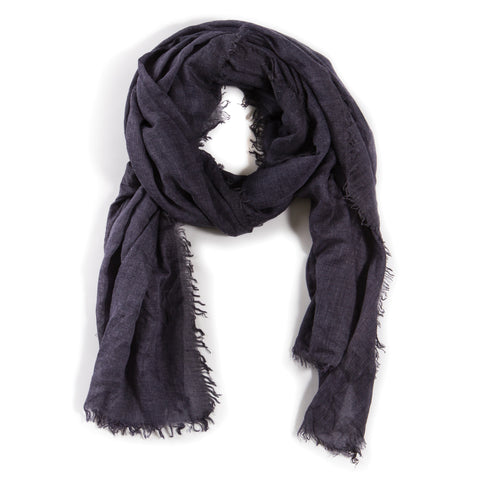 LIGHTWEIGHT FRAYED SCARF - NAVY