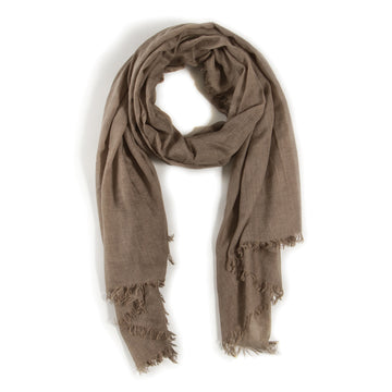 LIGHTWEIGHT FRAYED SCARF - OLIVE