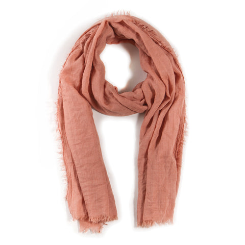 LIGHTWEIGHT FRAYED SCARF - SALMON