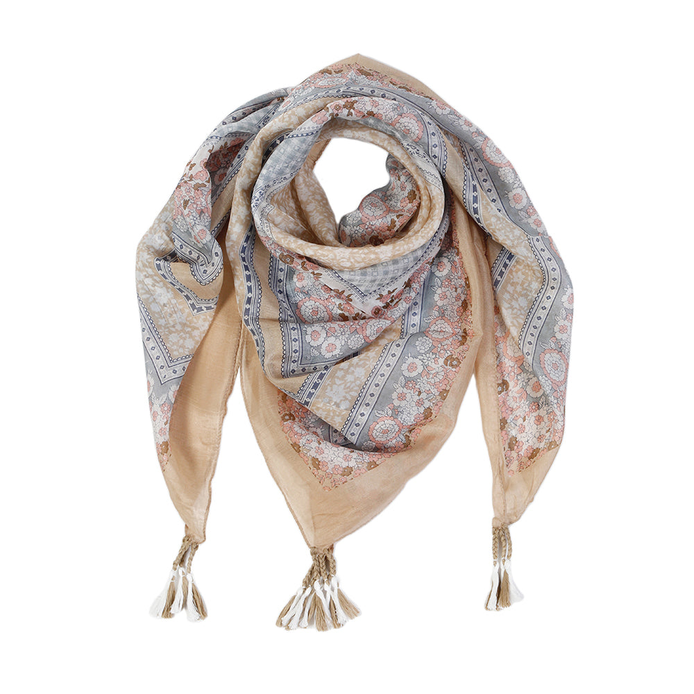 "<font color=""526b9e""><b> NEW! </b></font> MARGAUX SILK SCARF - <br> Taupe/Blush"