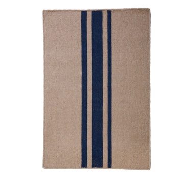NEW!  BEACHWOOD HANDWOVEN RUG - NATURAL/NAVY