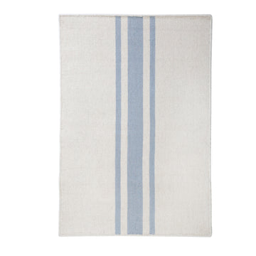 NEW!  BEACHWOOD HANDWOVEN RUG - IVORY/NORDIC BLUE