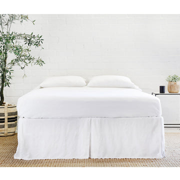 PLEATED LINEN BEDSKIRT - WHITE-Bed Skirt-Pom Pom at Home