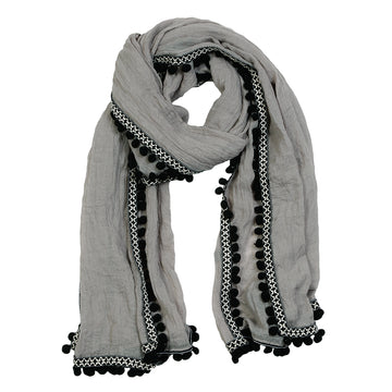 POM POM SCARF - Light Grey