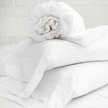 LINEN SHEET SET - WHITE-Pom Pom at Home