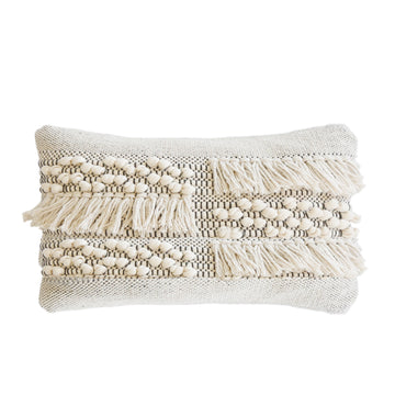 "ZAHRA HAND WOVEN PILLOW 14"" x 24"" with insert"