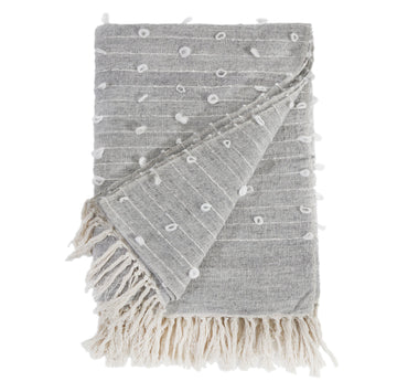 ZAIDEE OVERSIZED THROW - NATURAL/GREY