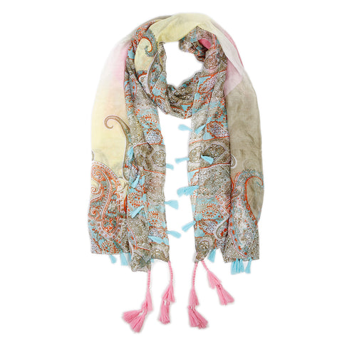"<font color=""526b9e""><b> NEW! </b></font> AMALFI SILK SCARF - <br> Pink/Turquoise"